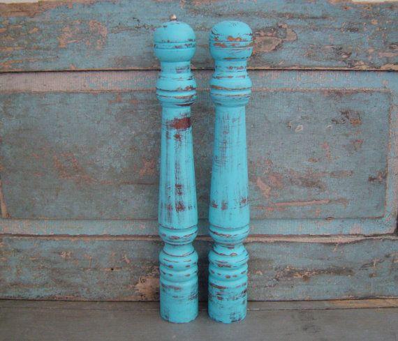 Turquoise Salt Shaker and Pepper Grinder Mill Large $22
