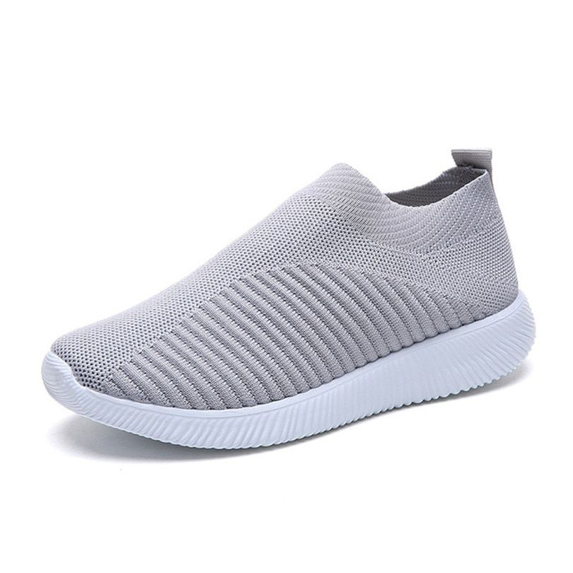 UK Women Plus Size Vulcanized Shoes Elastic  Mesh Sneakers Flat Casual Shoes