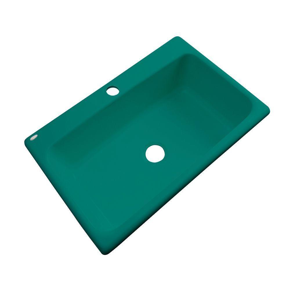 Manhattan Drop-In Acrylic 33 in. 1-Hole Single Bowl Kitchen Sink in Verde