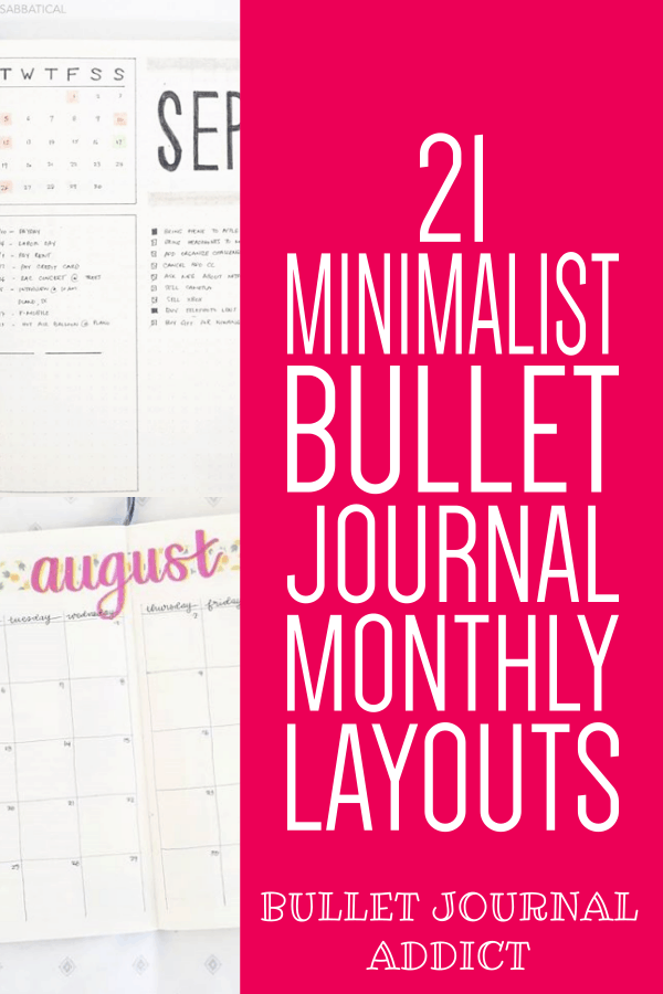 Bullet Journal Addict - 21 Easy Bullet Journal Monthly Spreads