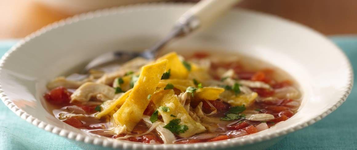 Turn deli rotisserie chicken into a spicy Southwestern soup!