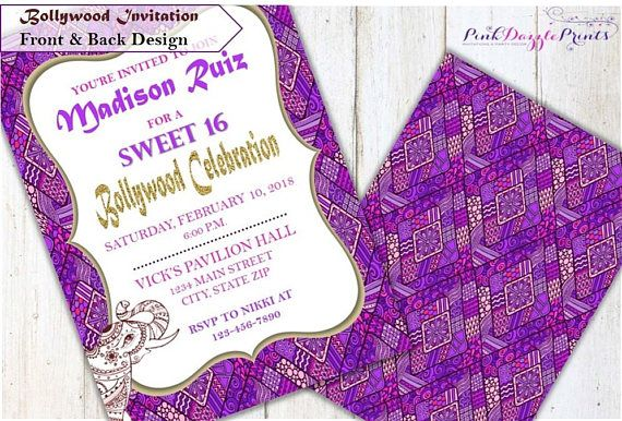 Printable Bollywood Sweet 16 Invitation Moroccan Party Invitations