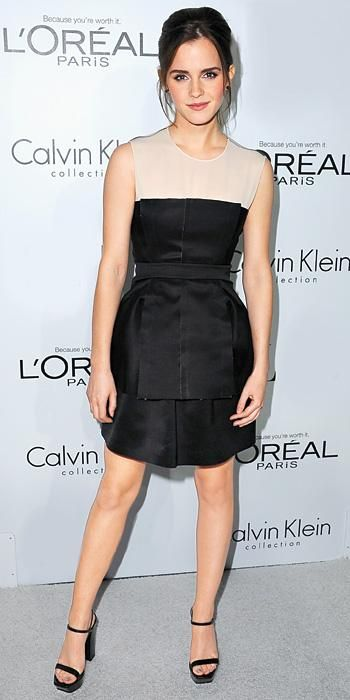 Emma Watson in a Calvin Klein Collection dress at ELLE's 19th Annual Women in Hollywood Awards in Beverly Hills, California, on 15 October 2012.
