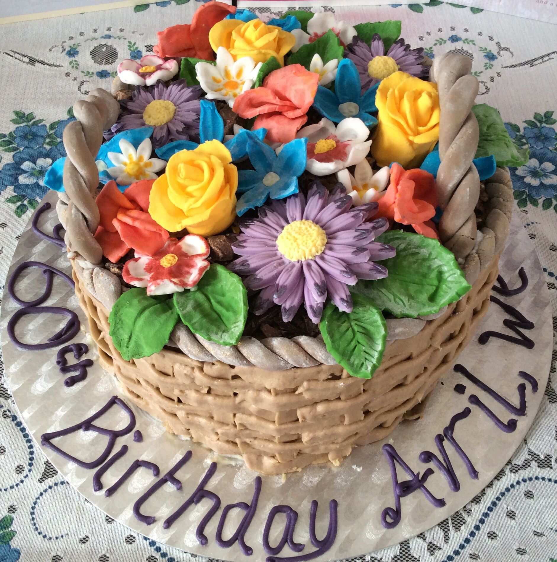 Magnificent Flower Basket Cake Made For My Mums 60Th Birthday Vanilla Sponge Funny Birthday Cards Online Alyptdamsfinfo
