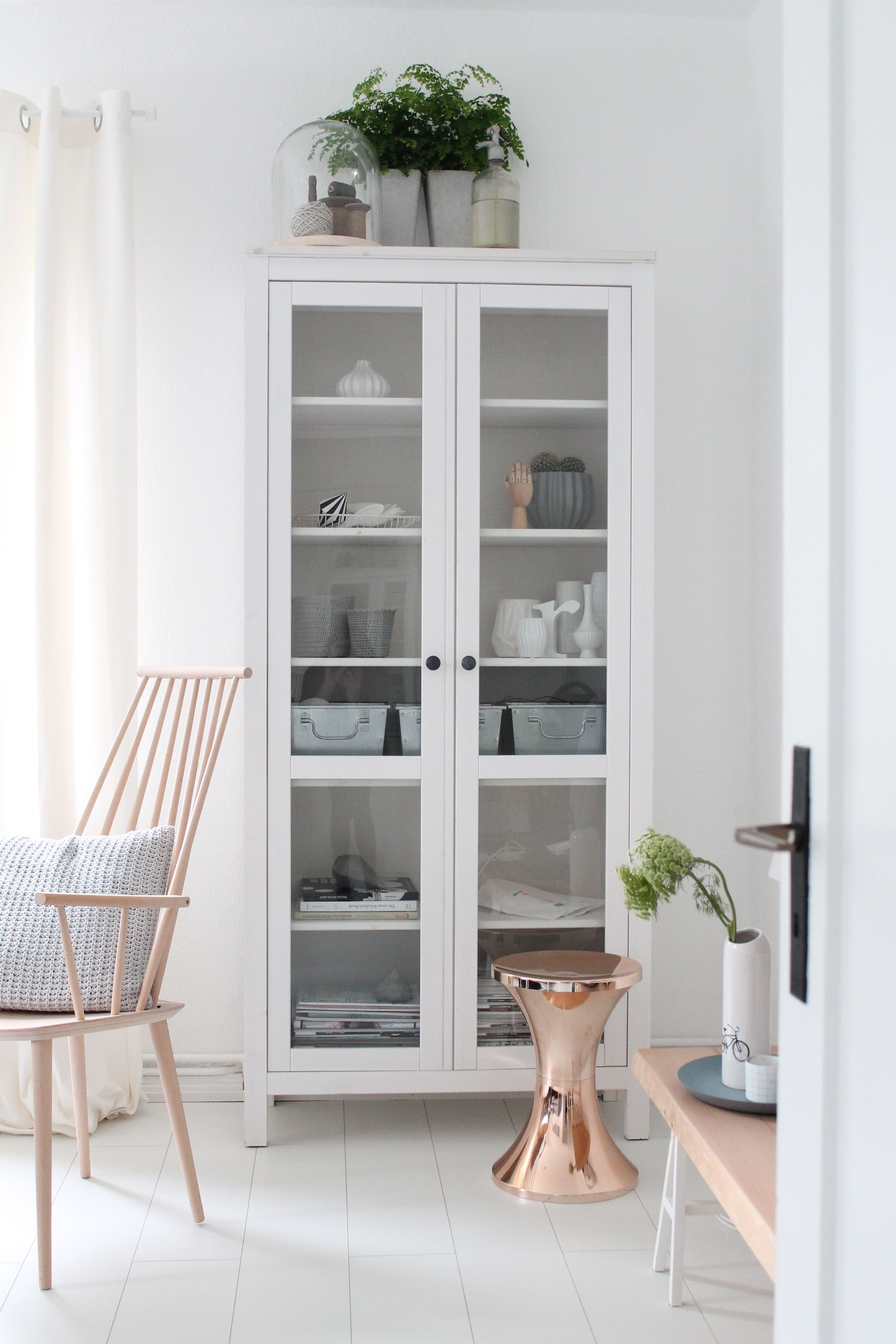 Ikea U0027Hemnesu0027 Display Cabinet U0026 Copper U0027TomTomu0027 Stool