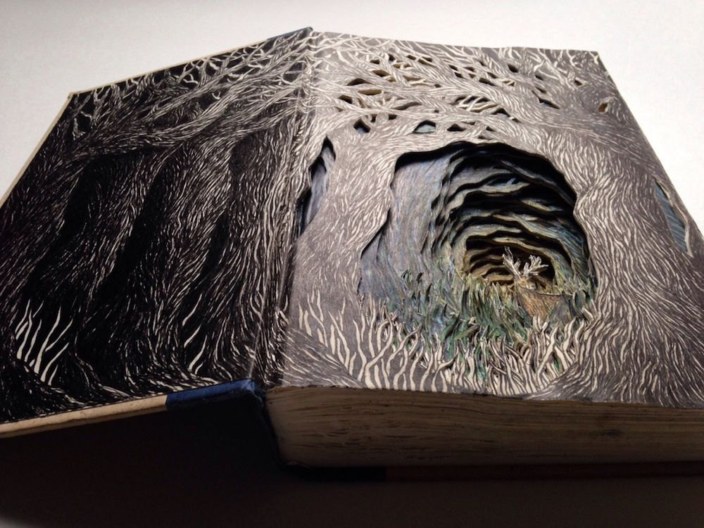 Old Books Transformed into Imaginative 3D Illustrations of Fairy Tale Scenes http://www.thisiscolossal.com/2015/03/old-books-transformed-into-imaginative-3d-illustrations-of-fairy-tale-scenes/