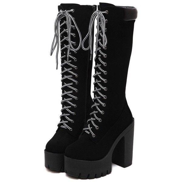 Black Chunky Heel Platform Mid-Calf