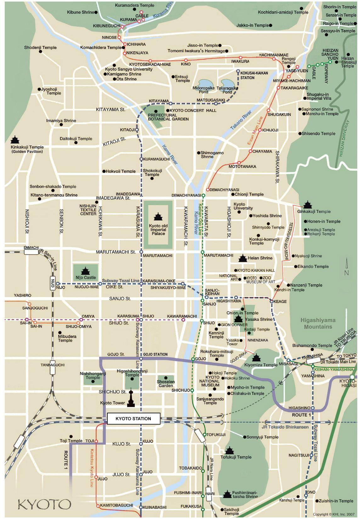 Kyoto map english Japan Kyoto Kobe and Osaka Pinterest