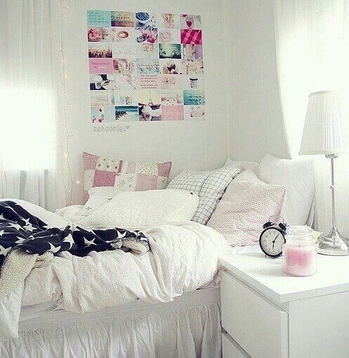 Imagen va We Heart It bed cute decor pastel pink room
