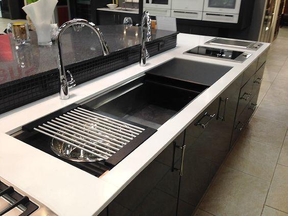 Galley Workstation stainless kitchen sink with black cutting ...