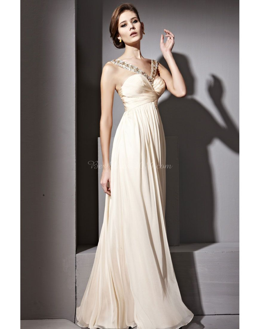 Aline applique empire vneck simple crystals evening dress dress