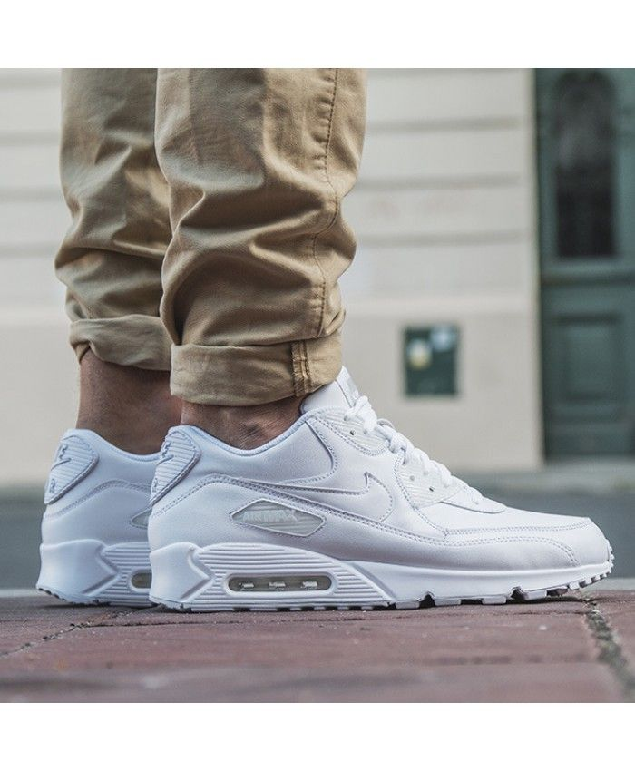 uk availability 41db4 15830 Cheap Nike AIR MAX 90 Leather GS All White Mens Trainers Sale UK