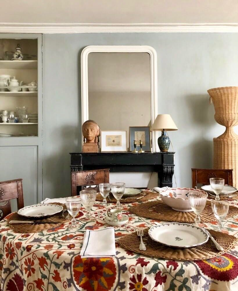 Delicieux Vintage Red Suzani Tablecloth In French Dining Room Paris Blue Grey Walls  Rattan Placemats #Diningroomideas