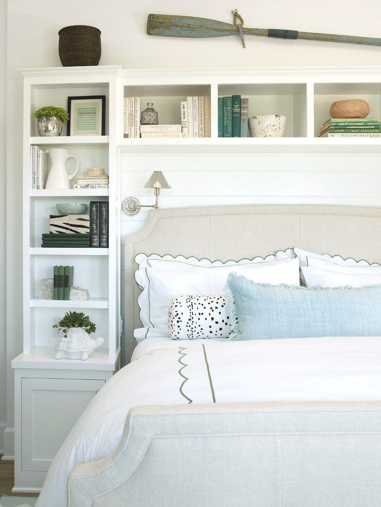 Built In Shelves Bedroom Beach Style With Bookcases