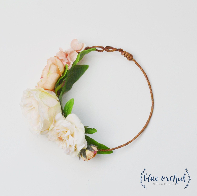 Flower Girl Crown Silk Flower Crown Flower Crown Peach Wedding