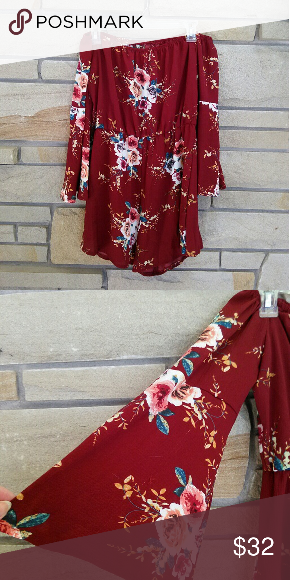 150509f62 ... bell romper Super cute and trendy burgundy wine floral short romper off  the shoulder with bell sleeves. Size large. New and never worn. Forever 21  Pants ...