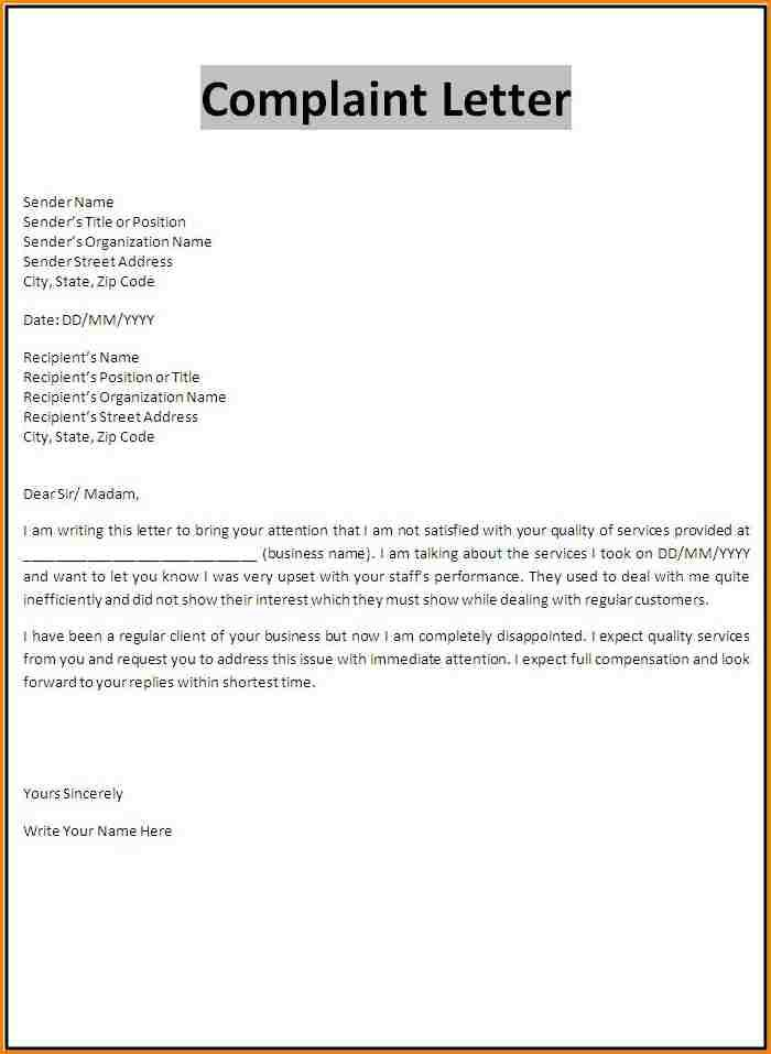 complaint email format rmal letter templatefree claim Home - performance contract template