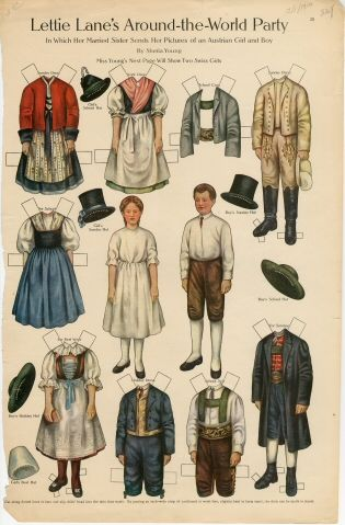 75.2772: Lettie Lane's Around-the-World Party: Austrian Girl and Boy | paper doll | Paper Dolls | Dolls | Online Collections | The Strong