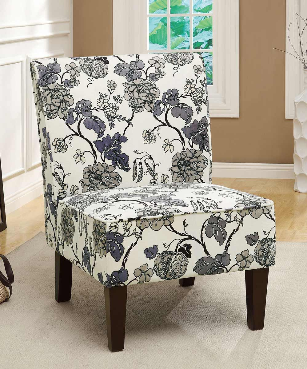 Coaster 902140 Accent Chair Grey Floral Pattern Fabric Accent