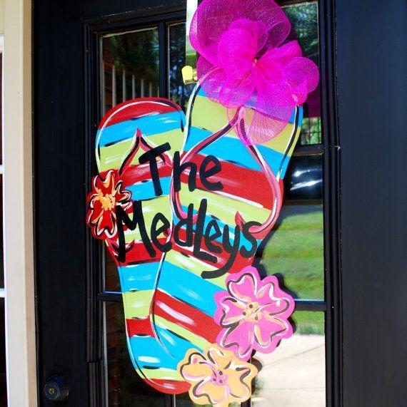 Door Hanger Flip Flop Summer Door Decoration By Looleighscharm 50 00 For The Home Summer