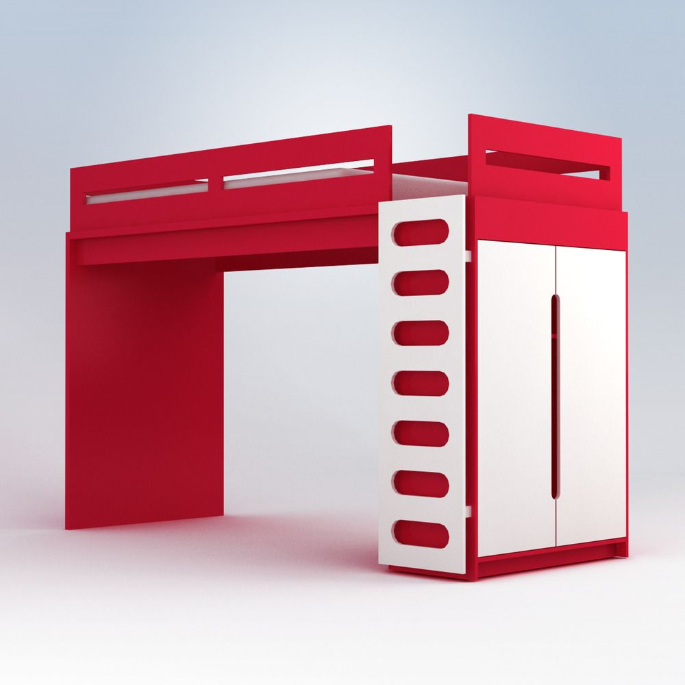 Alex Loft Bed from ProjectDecor.com  Available in red, green, brown or blue!  Click to see alternate colors