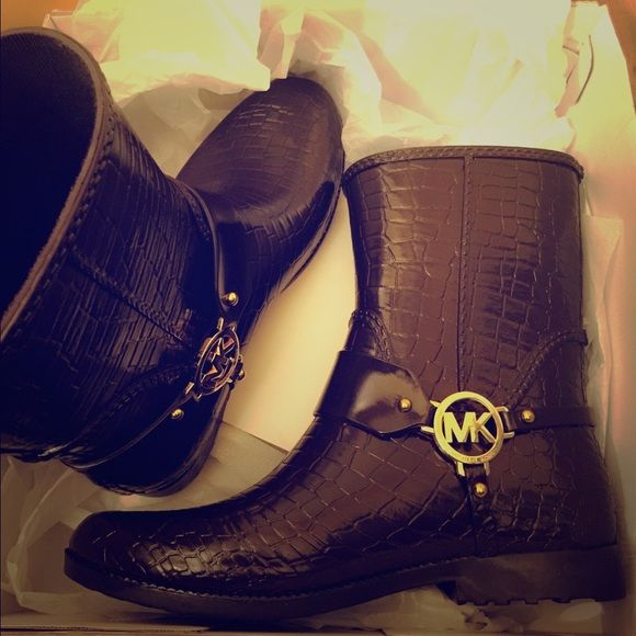 Michael Kors boots Brown Mk Crocodile Rainbooties Michael Kors Shoes Winter & Rain Boots