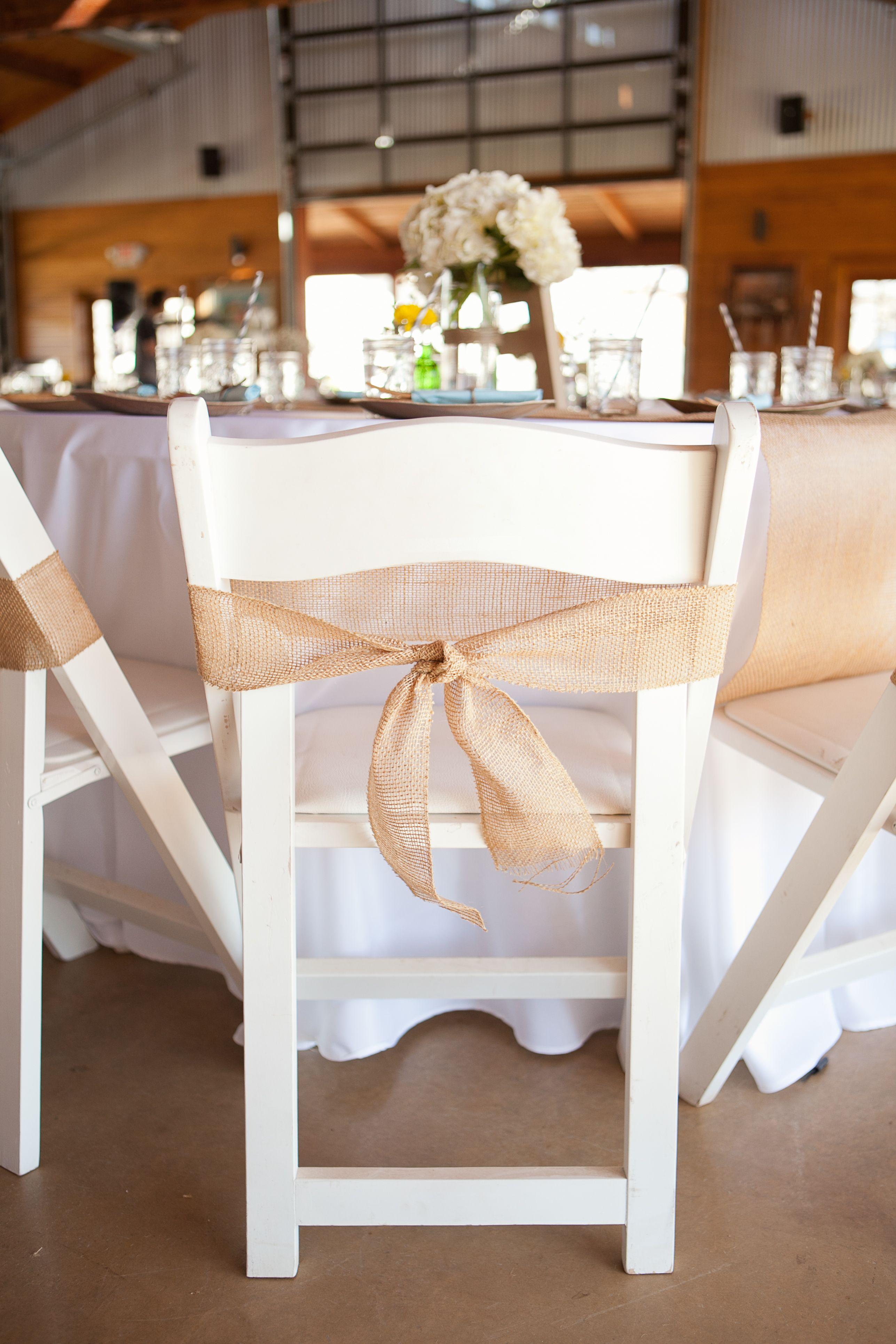 Burlap chair ties credit Something Blue Wedding
