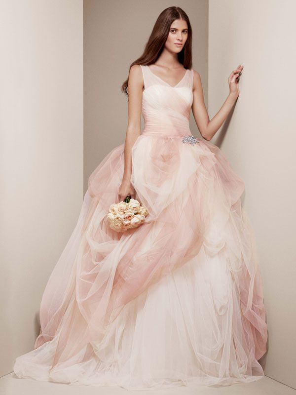 0973e3a90b6 White by Vera Wang Style  VW351157 Ombre Tulle Ball Gown with Pick Up Skirt  by