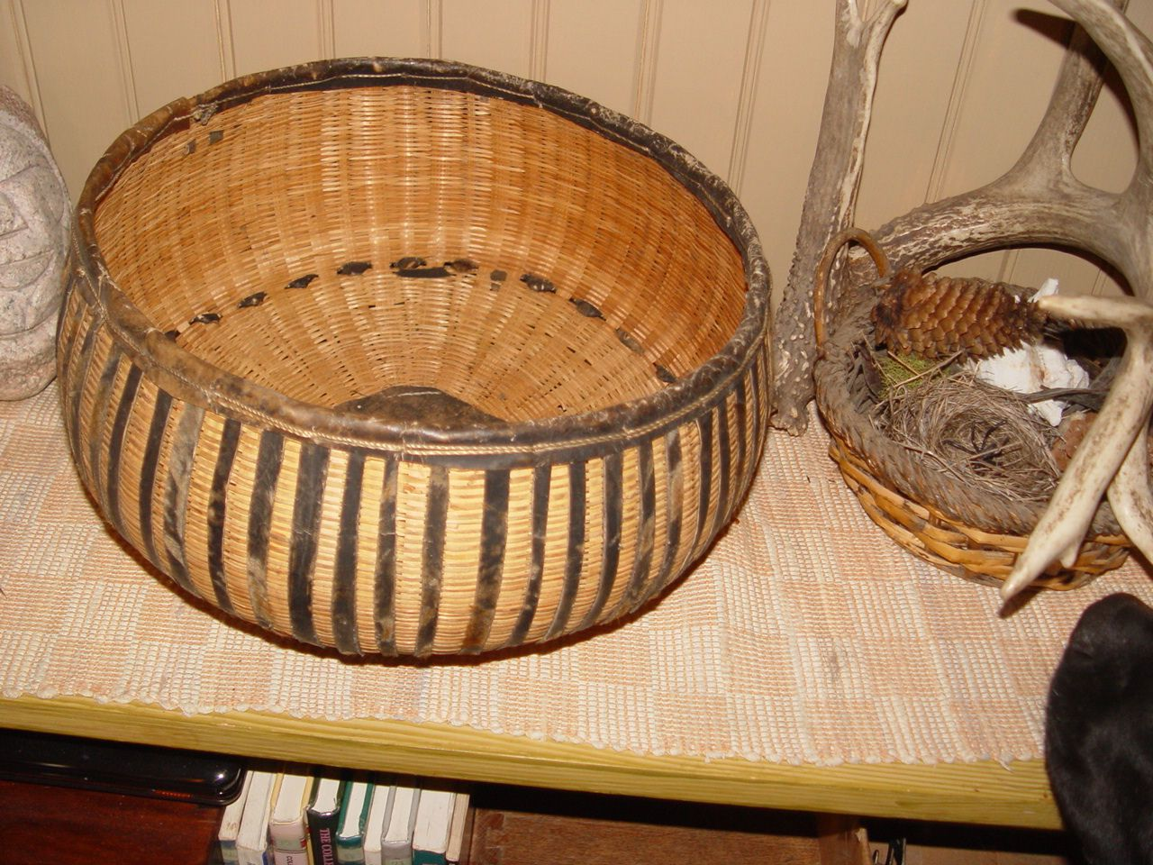 NATIVE AMERICAN LEATHER WOVEN EARLY GATHERING BASKET