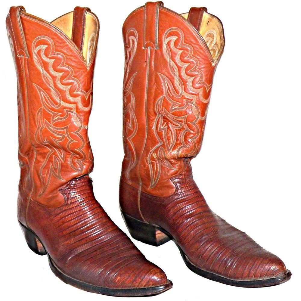 1ee7a325d31 Vintage Justin Peanut Brittle Teju Iguana Lizard Cowboy Boots 9.5D USA Made  8301