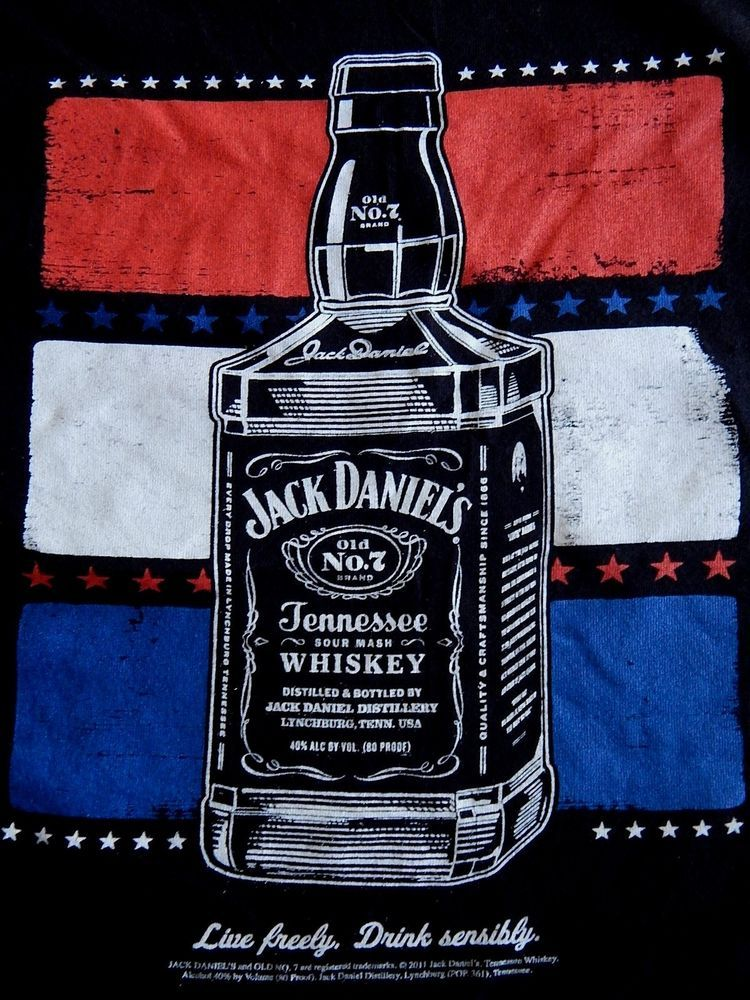 68b6b796736 Jack Daniels XL T Shirt American Flag Patriot Live Freely Whiskey No 7 T- Shirt  Alternative  GraphicTee