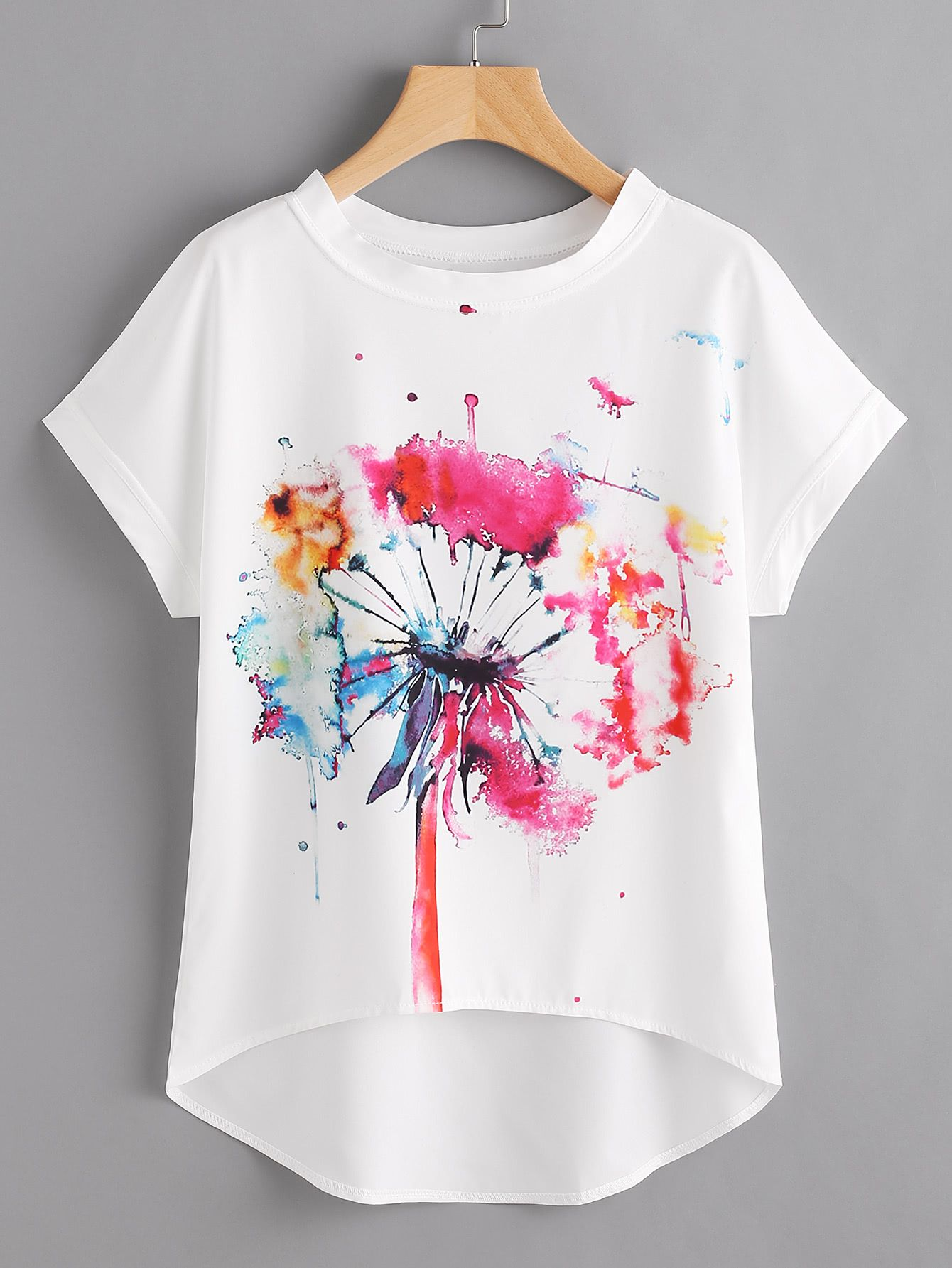 Shop Watercolor Painting Print Dip Hem Chiffon Top Online Shein
