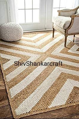 Indian Braided Jute Rug Rag Hand Woven Natural Jute Area Rugs