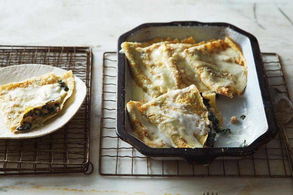 Crespelle with kale and guanciale food recipes food