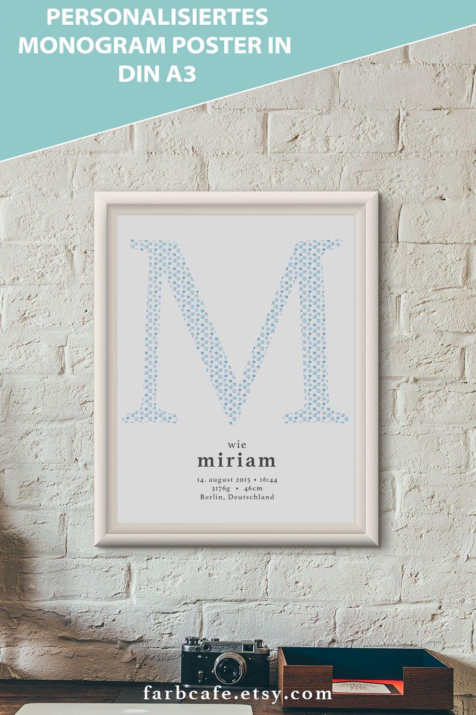 Individualisiertes Monogram Poster mit den Daten deines Kindes. Perfektes Geschenk oder Deko für's Kinderzimmer.