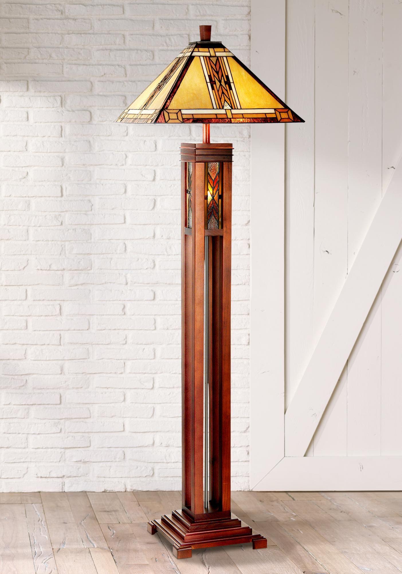 Walnut Mission Tiffany Style Floor Lamp