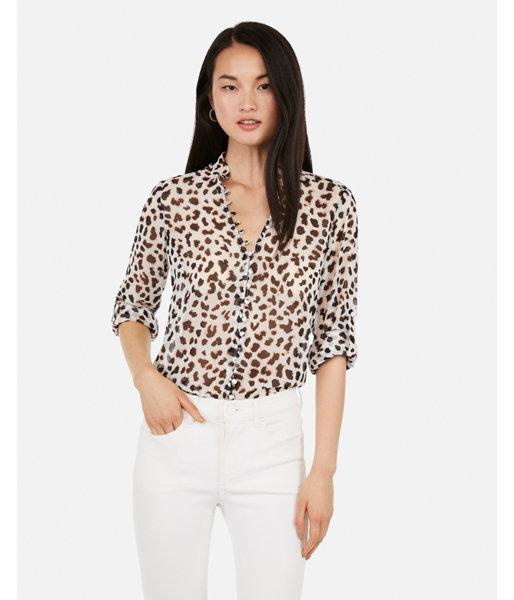 183163eb32f36d Slim Fit Leopard Ruffle Chiffon Portofino Shirt Print Women's XXS Petite