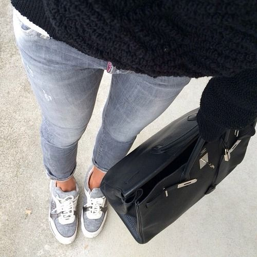 2a8459a4965cda Grey Chanel sneakers and Hermes bag x