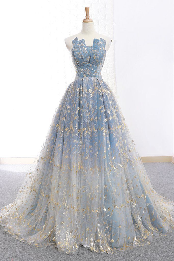 Photo of Elegant A Line Blue Tulle Long Strapless Lace up Gold Evening Dress Prom Dresses…