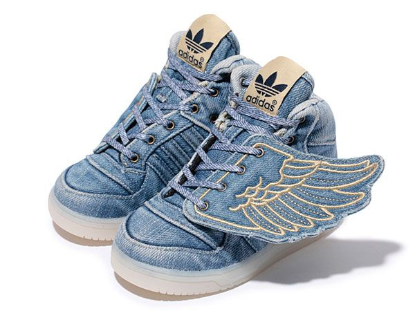 "Detailed images of the Jeremy Scott x adidas Originals JS Wings ""Denim""  sneakers for kids and baby."