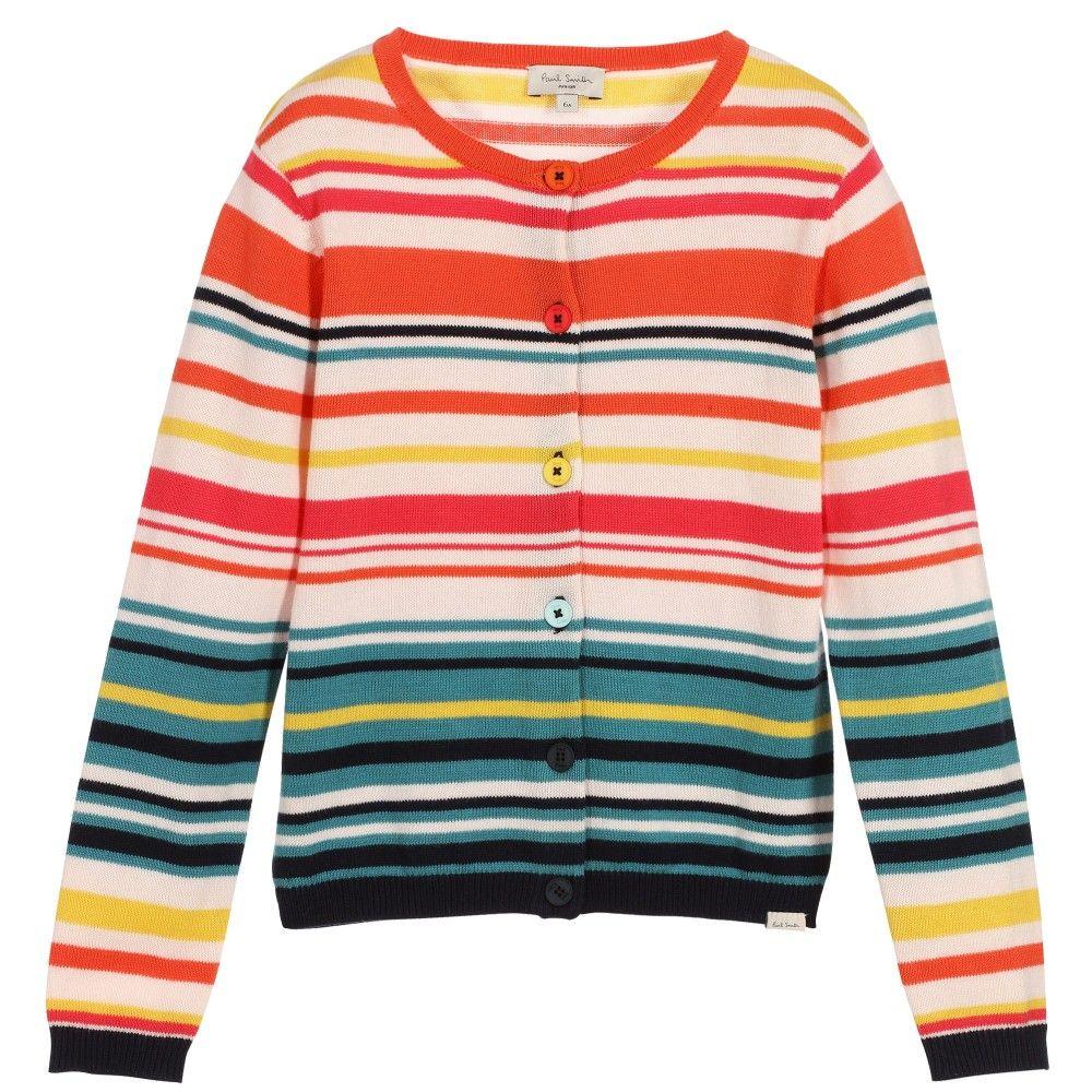 Girls Colourful Striped Cotton Cardigan