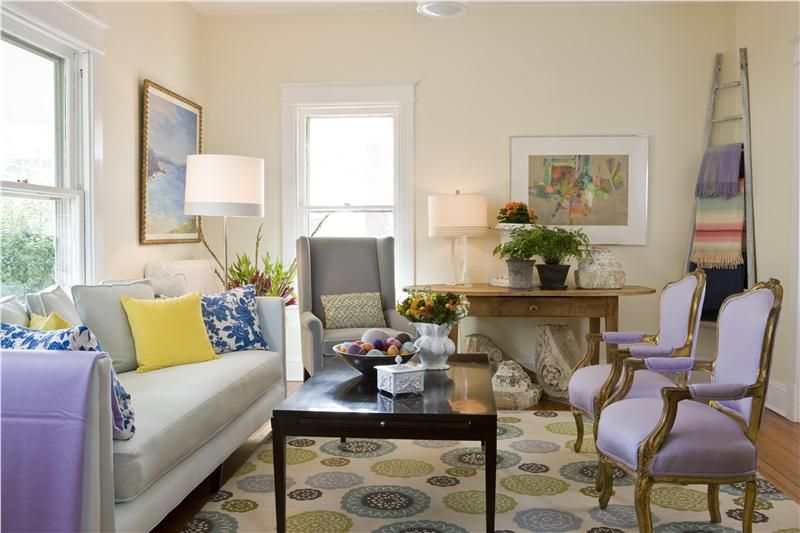 Light Transitional Living & Family Room by Margaret Carter on HomePortfolio