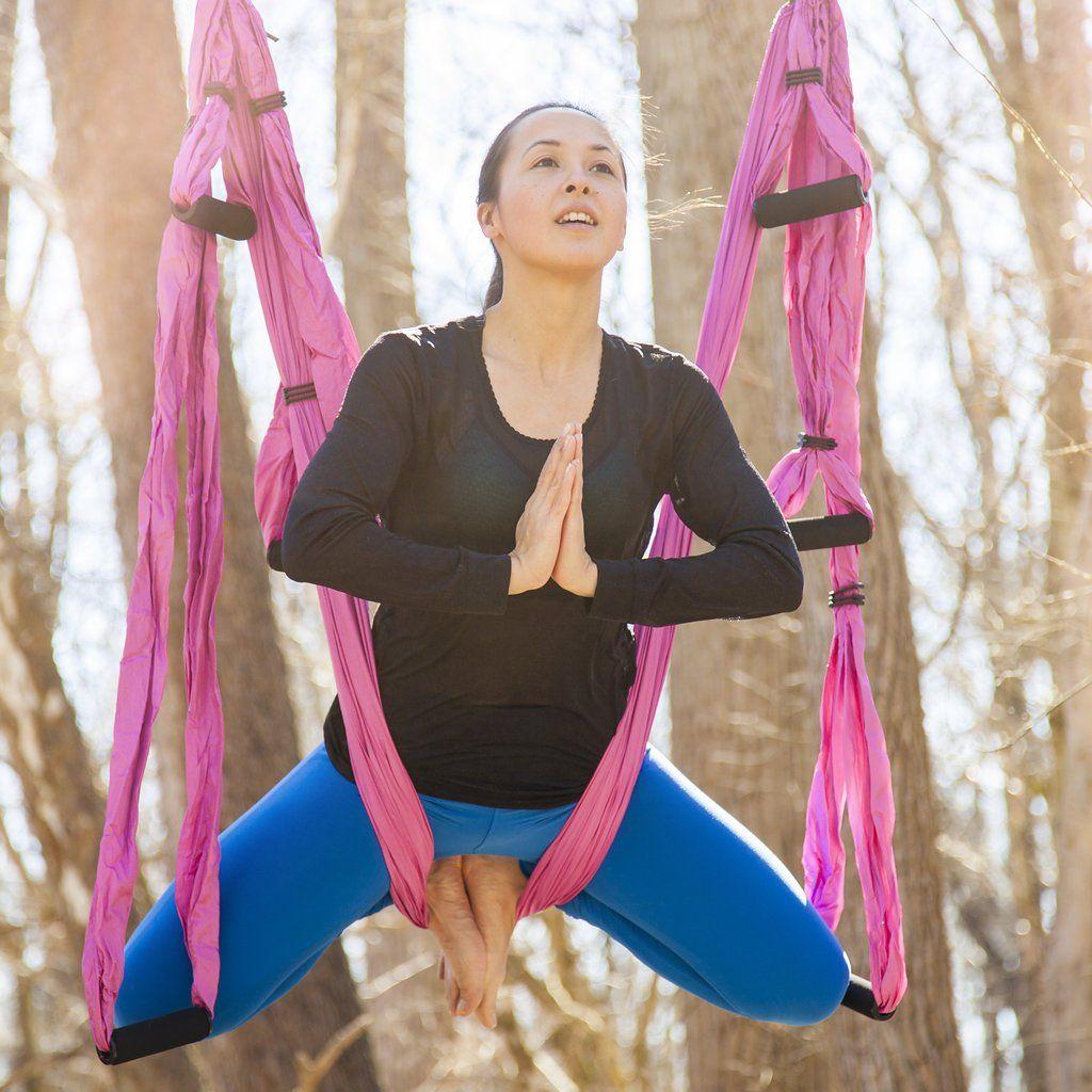 Yoga swinghammock and yoga wheel set antigravity trapeze includes
