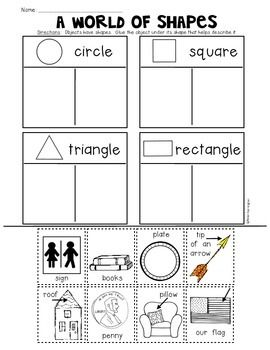 2d Plane Shapes Printables For Kindergarten Common Core Math