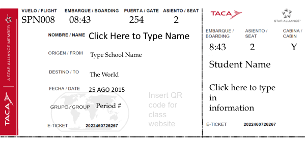 An editable plane ticket template to give to students on the first ...