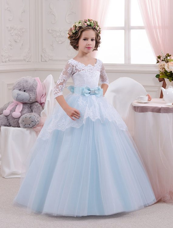White And Blue Lace Flower Girl Dress Birthday Wedding