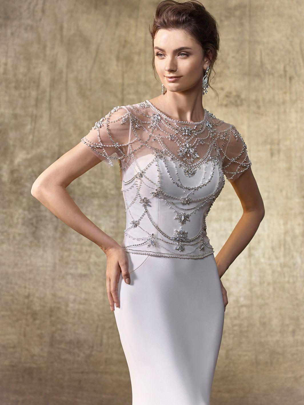 Wedding dress bodysuit   Enzoani Jacket T Front View  Hello Beautiful  Pinterest