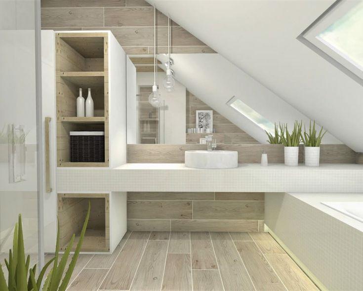 Die Wirkung von Holz in einem hellen Badezimmer auf dem Dachboden – Gisella P.