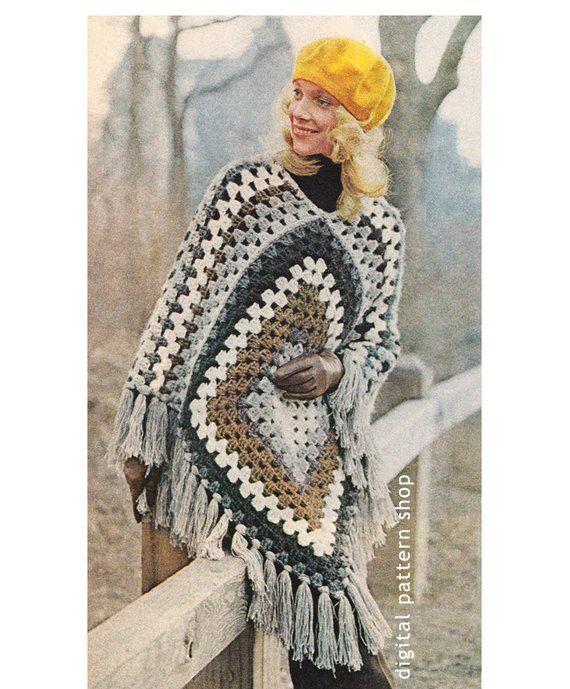 1970s Vintage Crochet Poncho Pattern Easy Granny Square Poncho Crochet Pattern PDF Instant Download - C55 #grannysquareponcho