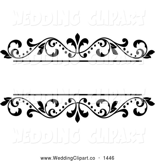 vector marriage clipart of a black and white ornate floral wedding rh pinterest com wedding clipart design cdr wedding invitation clip art designs